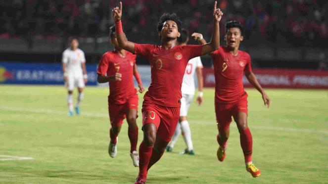 Selebrasi bomber timnas Indonesia U-19, Bagus Kahfi mencetak gol