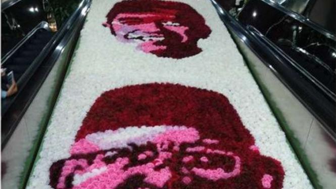 Bunga berwajah Jokowi-Ma'ruf Amin di Gedung DPR/MPR