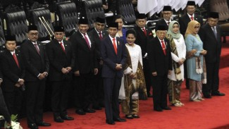 Pelantikan Presiden Jokowi dan Wakil Presiden KH.Ma'ruf Amin di Jakarta, Minggu, 20 Oktober 2019.