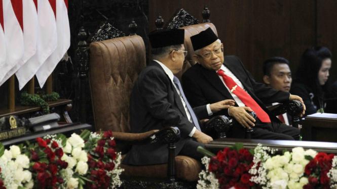 Pelantikan Presiden Jokowi dan Wakil Presiden Ma'ruf Amin di Gedung DPR/MPR RI, Jakarta, Minggu, 20 Oktober 2019.