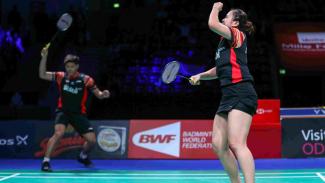 Selebrasi Praveen Jordan/Melati Daeva Oktavianti merebut gelar Denmark Open 2019