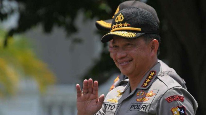 Kapolri, Jenderal Pol Tito Karnavian datang ke Istana Kepresidenan Jakarta.