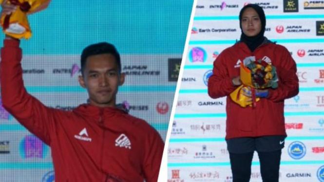 Atlet panjat tebing Indonesia, Alfian M Fajri (kiri) dan Aries Susanti Rahayu