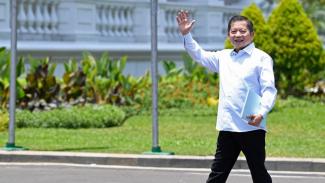 Suharso Monoarfa datang ke Istana Kepresidenan Jakarta.