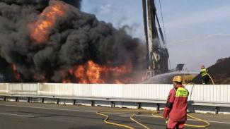 Kebakaran pipa minyak Pertamina di Cimahi Jawa Barat 22 Oktober 2019