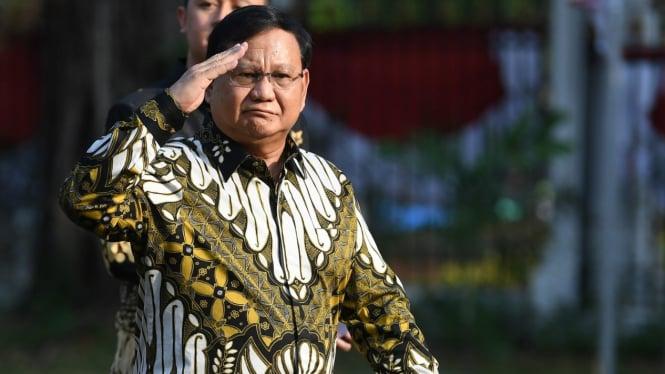 Ketua Umum Partai Gerindra Prabowo Subianto tiba di Istana Kepresidenan.