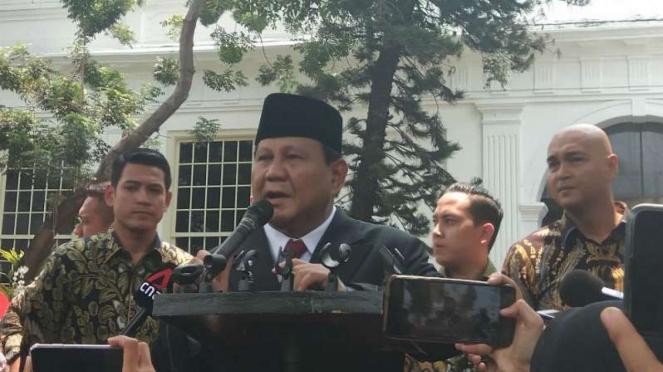 Menteri Pertahanan, Prabowo Subianto, di Istana Negara, Jakarta.