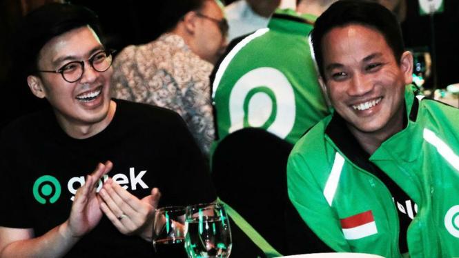 Co-CEO Gojek, Kevin Aluwi (kiri) dan Andre Soelistyo.