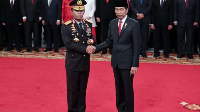 Presiden Jokowi dan  Kapolri Jenderal Idham Azis