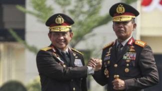 Serah terima jabatan Kapolri dari Tito Karnavian ke Idham Azis di Depok, Jawa Barat.
