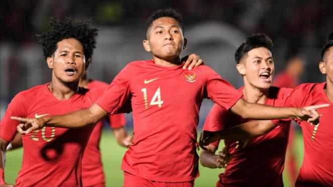 Selebrasi para pemain Timnas U-19.