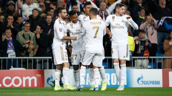 Real Madrid rayakan gol