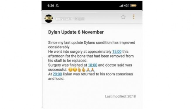 Dylan Carr sukses jalani operasi