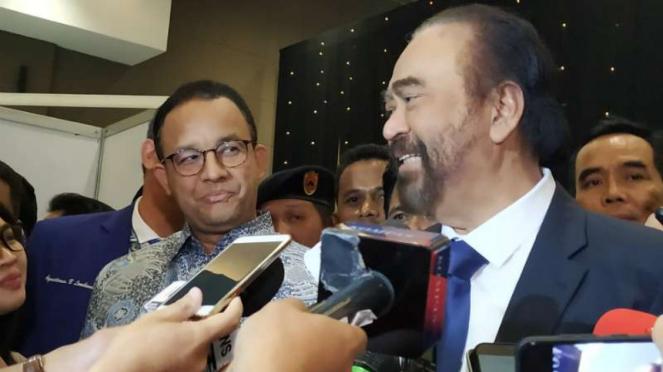 Ketua Umum Nasdem, Surya Paloh, dan Gubernur DKI Jakarta, Anies Baswedan