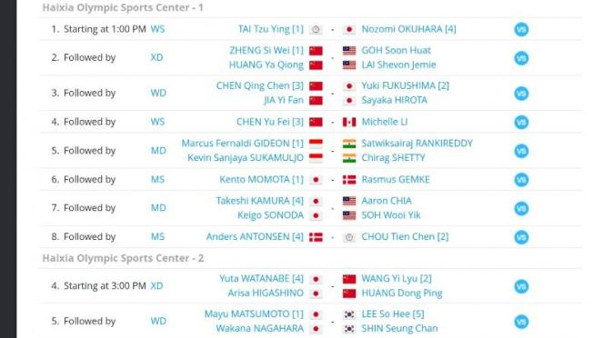 Jadwal lengkap partai semifinal Fuzhou China Open 2019