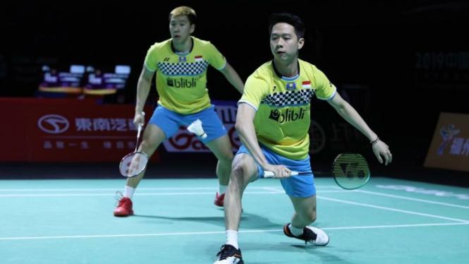 Ganda putra Indonesia, Kevin Sanjaya Sukamuljo/Marcus Fernaldi Gideon.