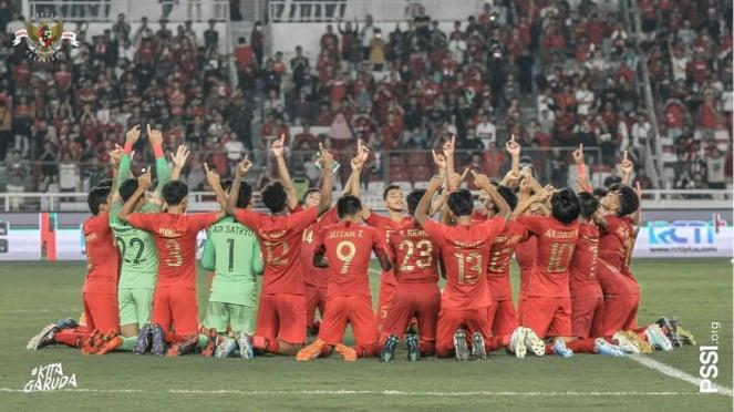 Selebrasi Timnas Indonesia U-19 usai lolos putaran final Piala Asia U-19 2020