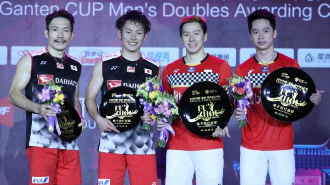 Kevin Sanjaya/Marcus Gideon (kanan) juarai Fuzhou China Open 2019