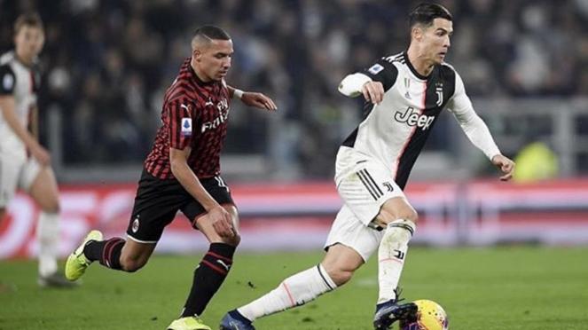 Cristiano Ronaldo saat Juventus melawan AC Milan