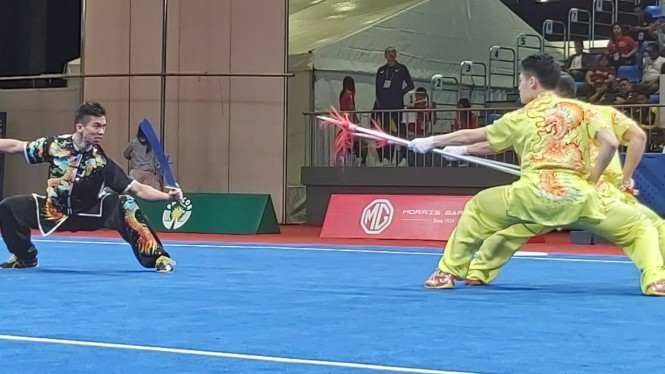 Laga final tim wushu Indonesia di SEA Games 2019