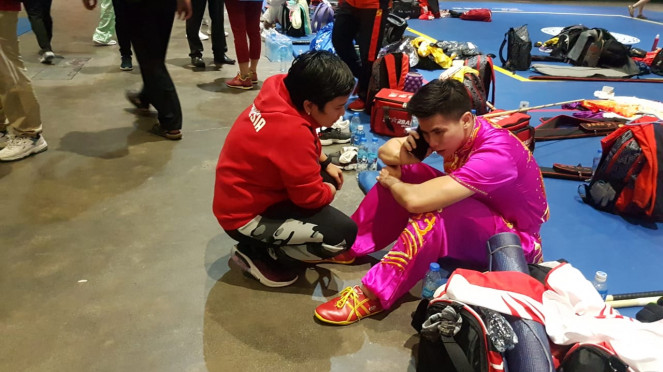 Atlet Wushu Indonesia, Edgar Xavier Marvelo (kanan)