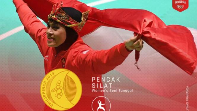 Atlet pencak silat putri Indonesia, Puspa Arum Sari merebut medali emas SEA Games 2019