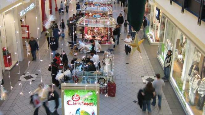 Ilustrasi tenant di pusat perbelanjaan atau mal.