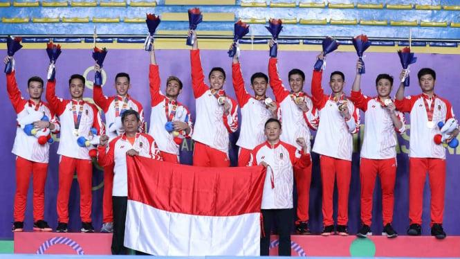 Tim bulutangkis beregu putra Indonesia rebut medali emas SEA Games 2019