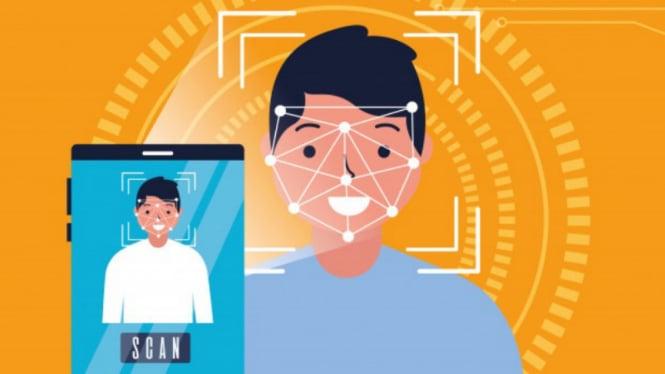 Ilustrasi face recognition atau pemindaian wajah.