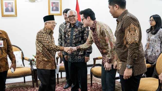 Silaturahmi antara Wakil Presiden Republik Indonesia Prof. Dr. K.H.Ma'ruf Amin dan Direktur Shopee Indonesia, Handhika Jahja, Rabu 20 November 2019 di Kantor Wakil Presiden RI