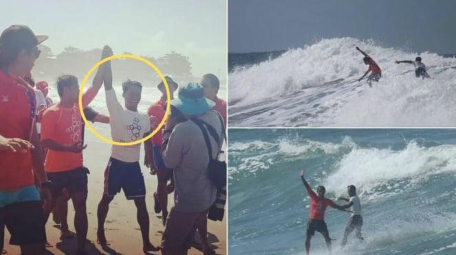 Aksi peselancar Filipina menolong Peselancar Indonesia yang tenggelam