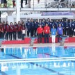 Podium medali cabang polo air putri Indonesia Open Aquatik Championship 2019