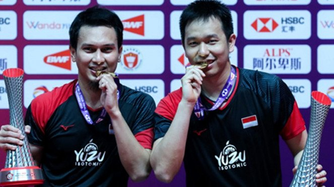 Ganda putra Indonesia, Mohammad Ahsan/Hendra Setiawan di BWF Tour Finals 2019