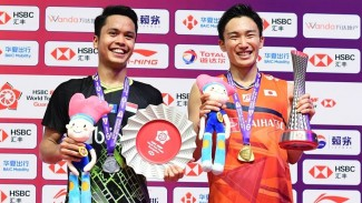 Anthony Ginting dan Kento Momota.