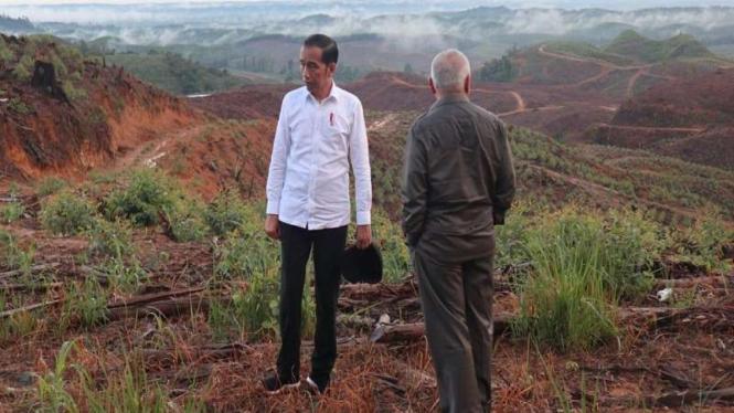 Presiden Jokowi saat meninjau lokasi Ibu Kota baru RI di Penajam Paser Utara, Kalimantan Timur.