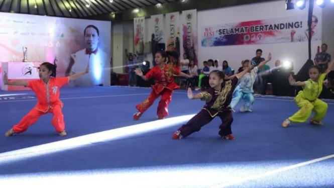 Festival wushu, Wufest Taolu Championship di Wisma Serba Guna GBK, Jakarta.