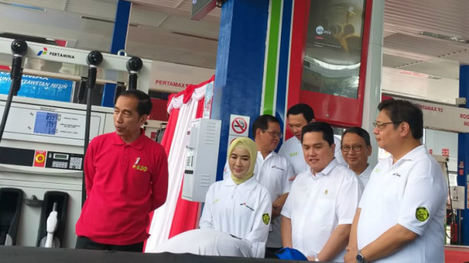 Presiden Joko Widodo luncurkan BBM B30 di SPBU MT Haryono, Jakarta