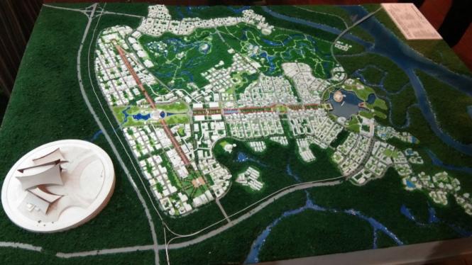 Desain ibu kota baru Indonesia di Kalimantan Timur.