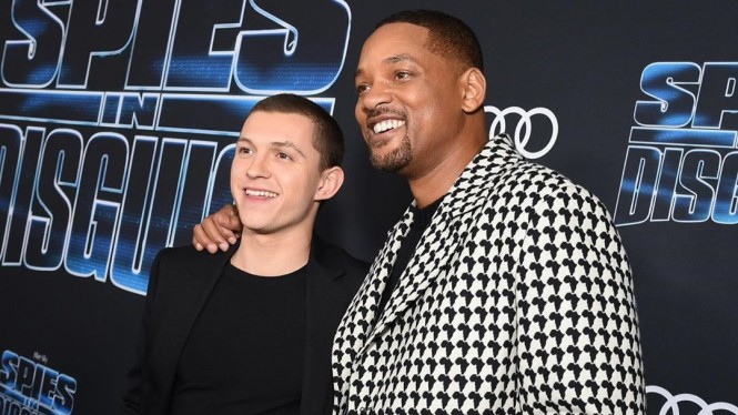Tom Holland dan Will Smith di Premiere Spies in Disguise