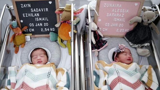 Bayi kembar pasangan Syahnaz Sadiqah dan Jeje Govinda