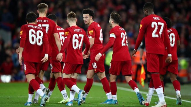 Pemain Liverpool saat menghadapi Everton di Piala FA