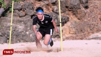Pemain muda Arema FC Vikiran Akbar. (Foto: Tria Adha P/TIMES Indonesia)