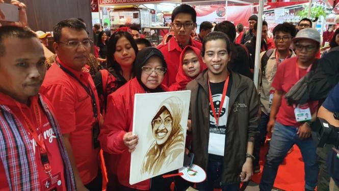 Walikota Surabaya Tri Rismaharini yang hadir dalam Rakernas PDIP