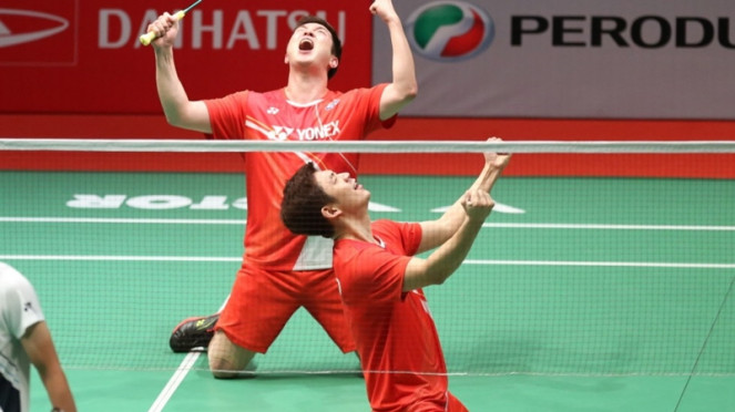 Ganda putra Korea Selatan, Lee Yong-dae/Kim Gi-jung di Malaysia Masters
