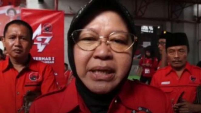 Wali kota Surabaya yang juga kader partai PDI Perjuangan,  Tri Rismaharini.