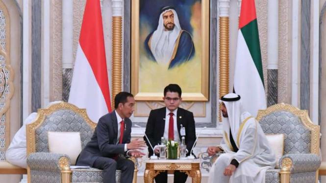 Presiden Joko Widodo dan Putra Mahkota Uni Emirat Arab Mohamed bin Zayed.
