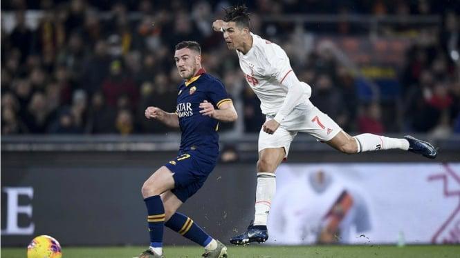 Aksi Ronaldo saat Juventus bertandang ke kandang AS Roma