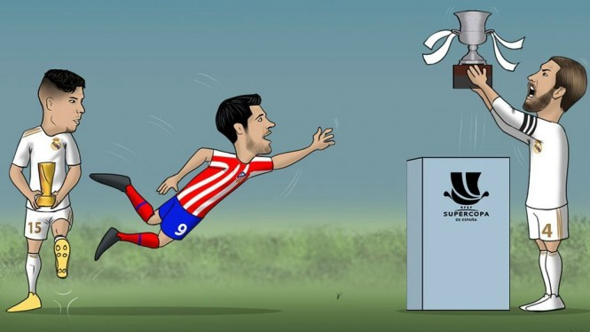 Ilustrasi tekel Federico Valverde ke Alvaro Morata di final Supercopa Spanyol