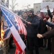 Anti-US protests broke out in Tehran after the killing of Qasem Soleimani - EPA