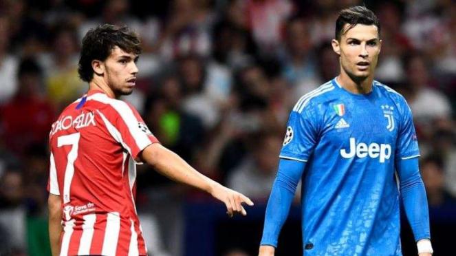 Joao Felix (kiri) dan Cristiano Ronaldo (kanan)